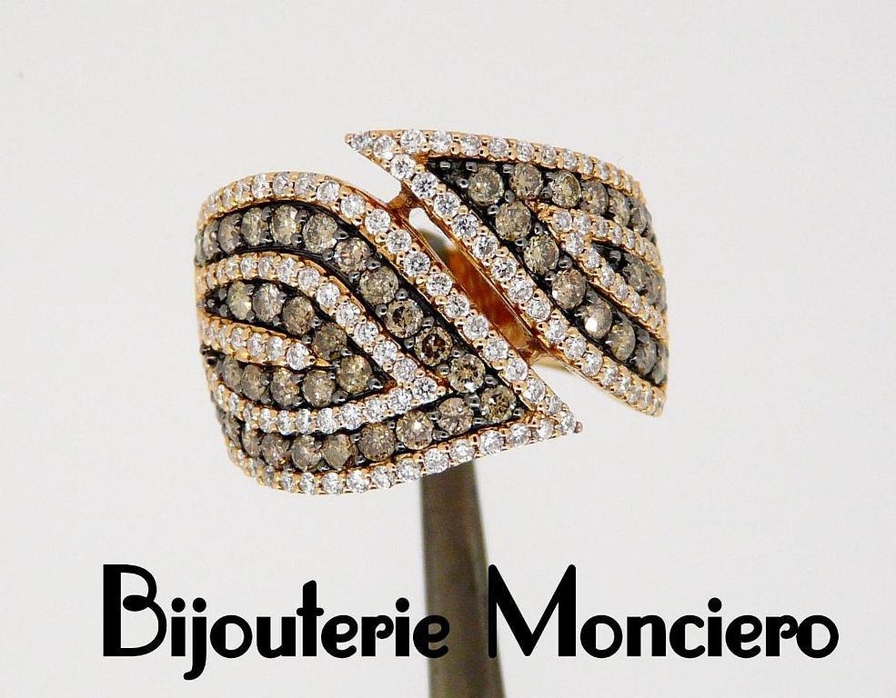 Bague diamants cognacs et diamants blancs