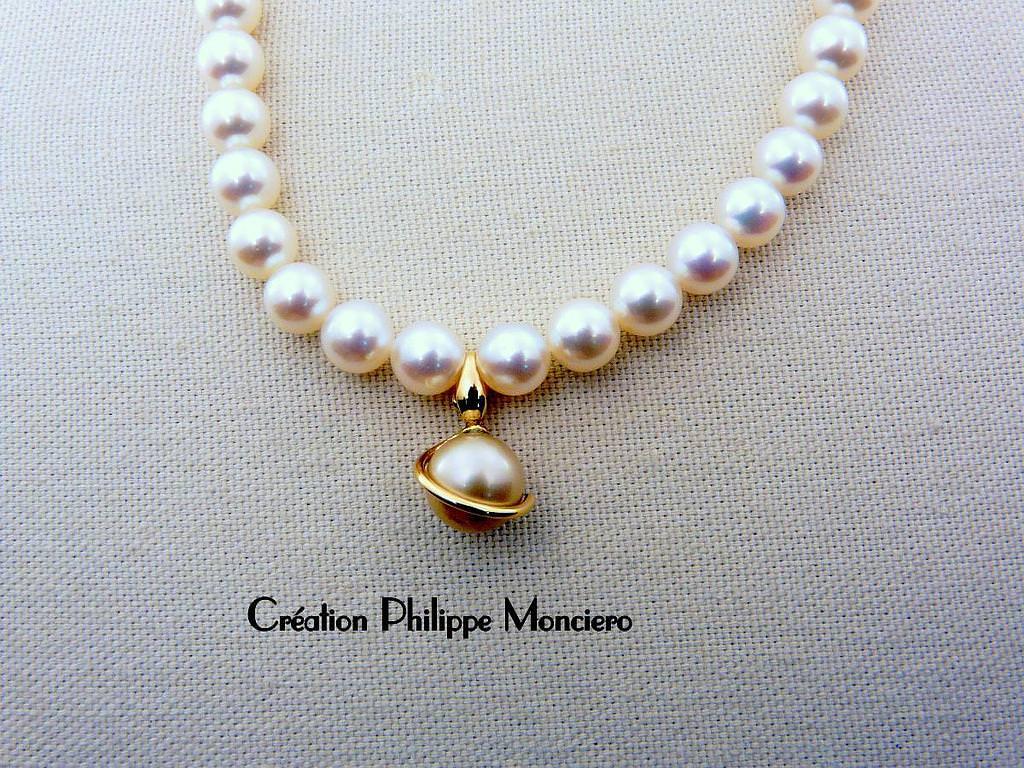 Collier de perles et son pendentif perles de Tahiti sur or jaune