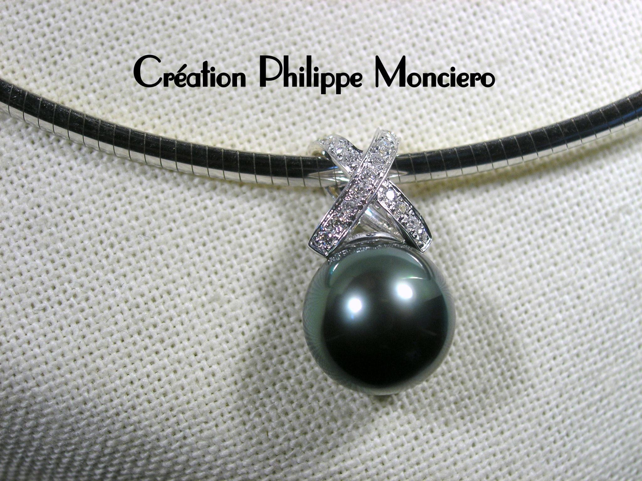 Pendentif perle de Tahiti et diamants. Monciero - Nîmes
