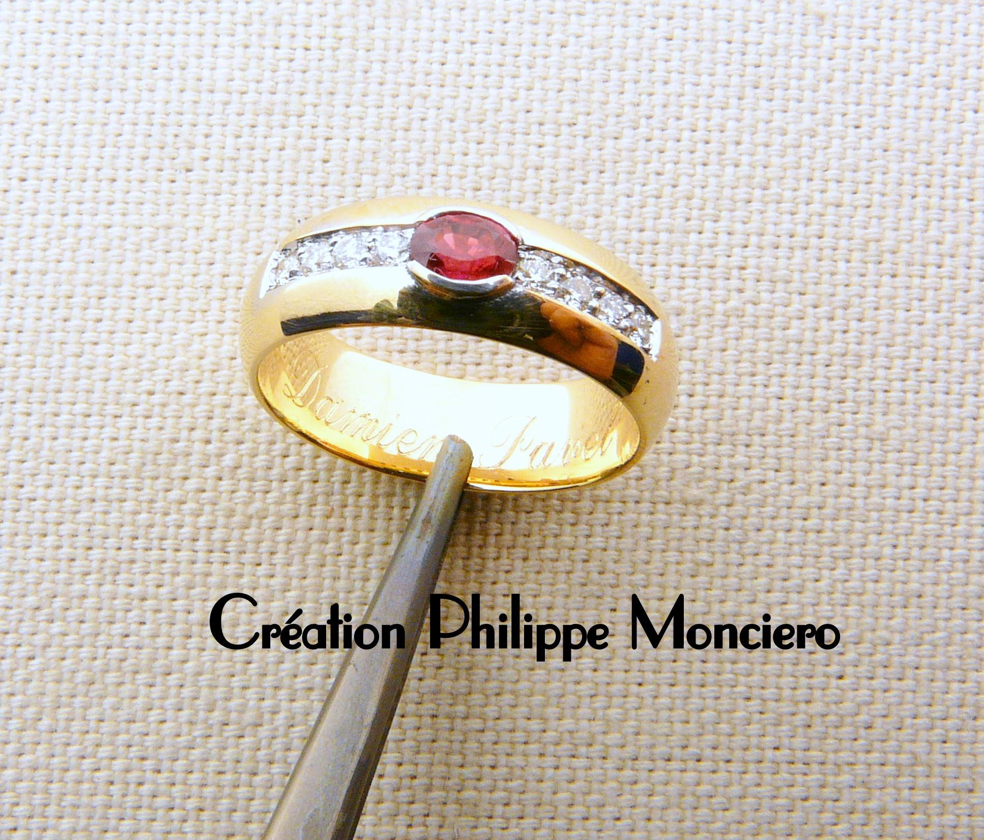 Bague rubis et diamants sur or jaune. Monciero - Nîmes