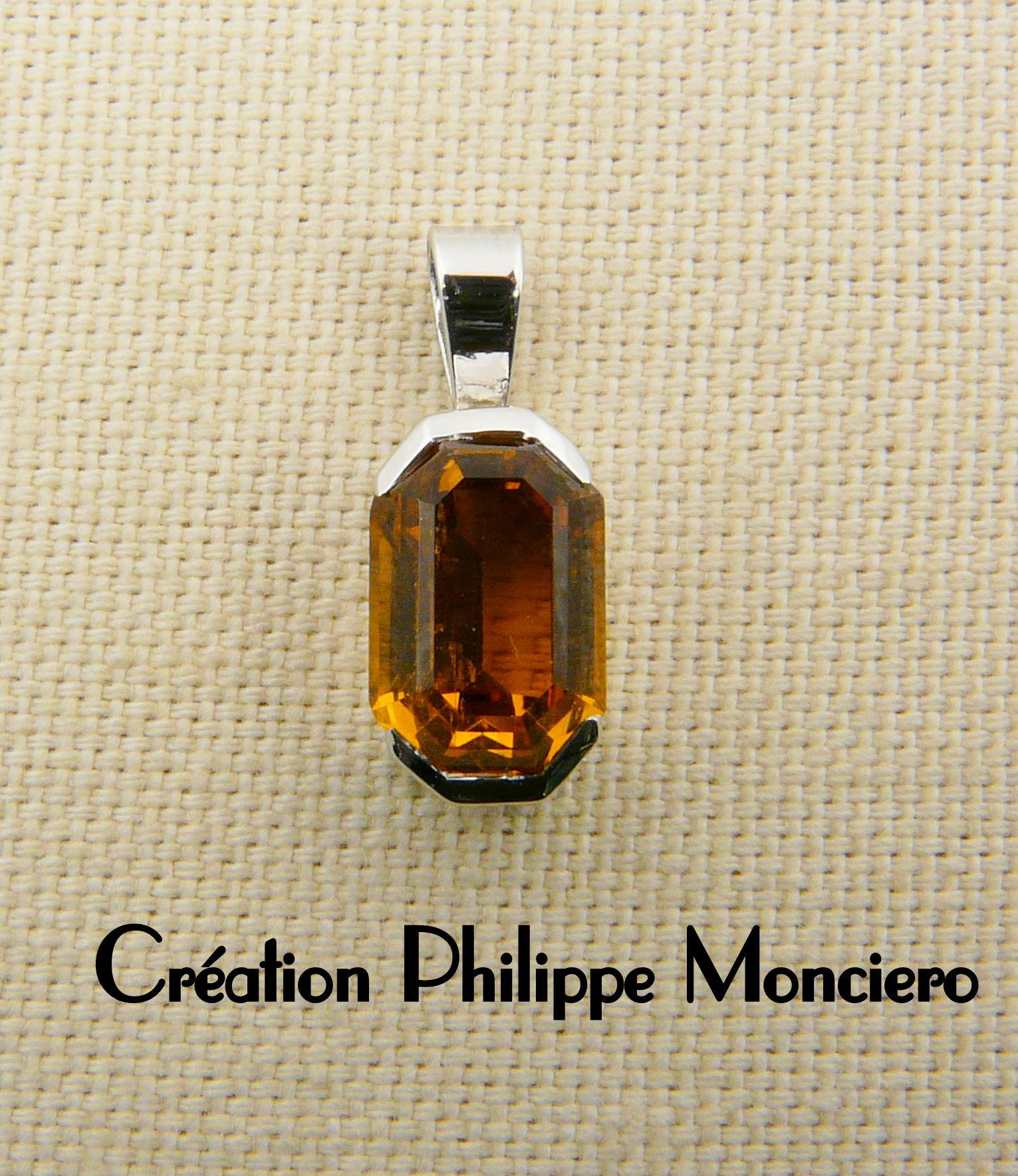 Pendentif citrine et or blanc. Monciero - Nîmes