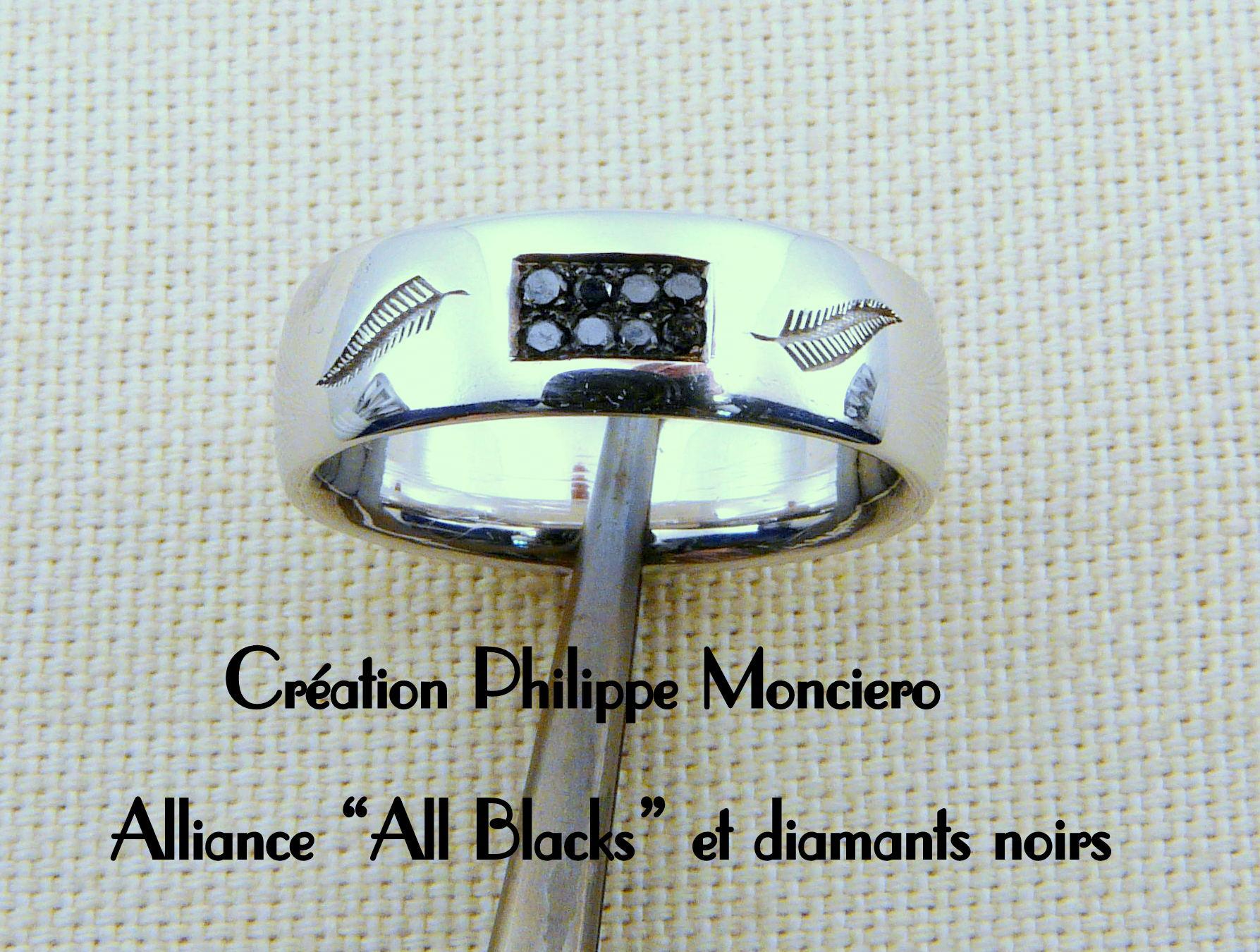 """Alliance """"All Blacks"""" diamants noirs sur or blanc. Monciero - Nîmes"""