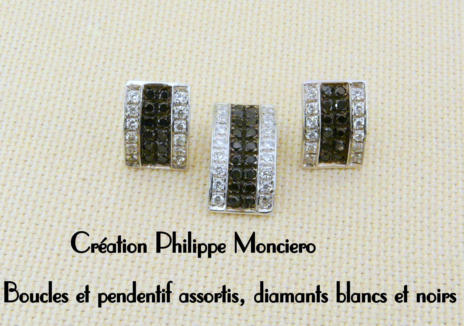 Boucles et pendentif en or blanc diamants blancs et noirs. Monciero - Nîmes