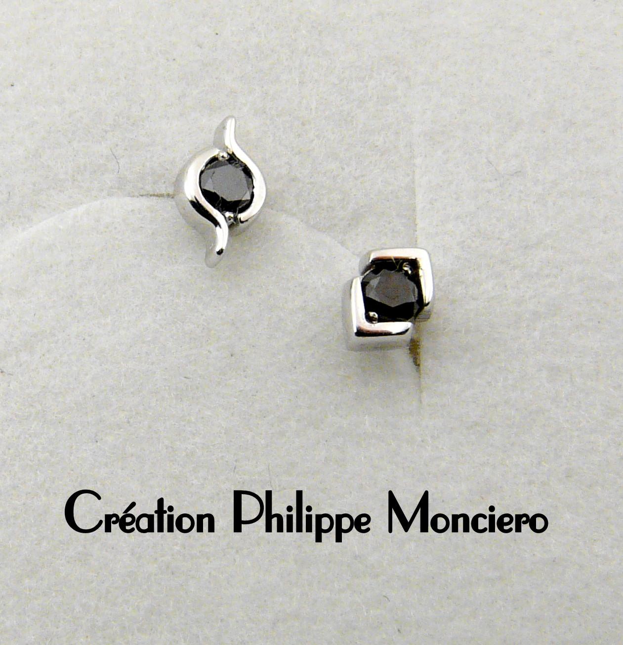 Boucles d'oreilles en or blanc et diamants noir. Monciero - Nîmes