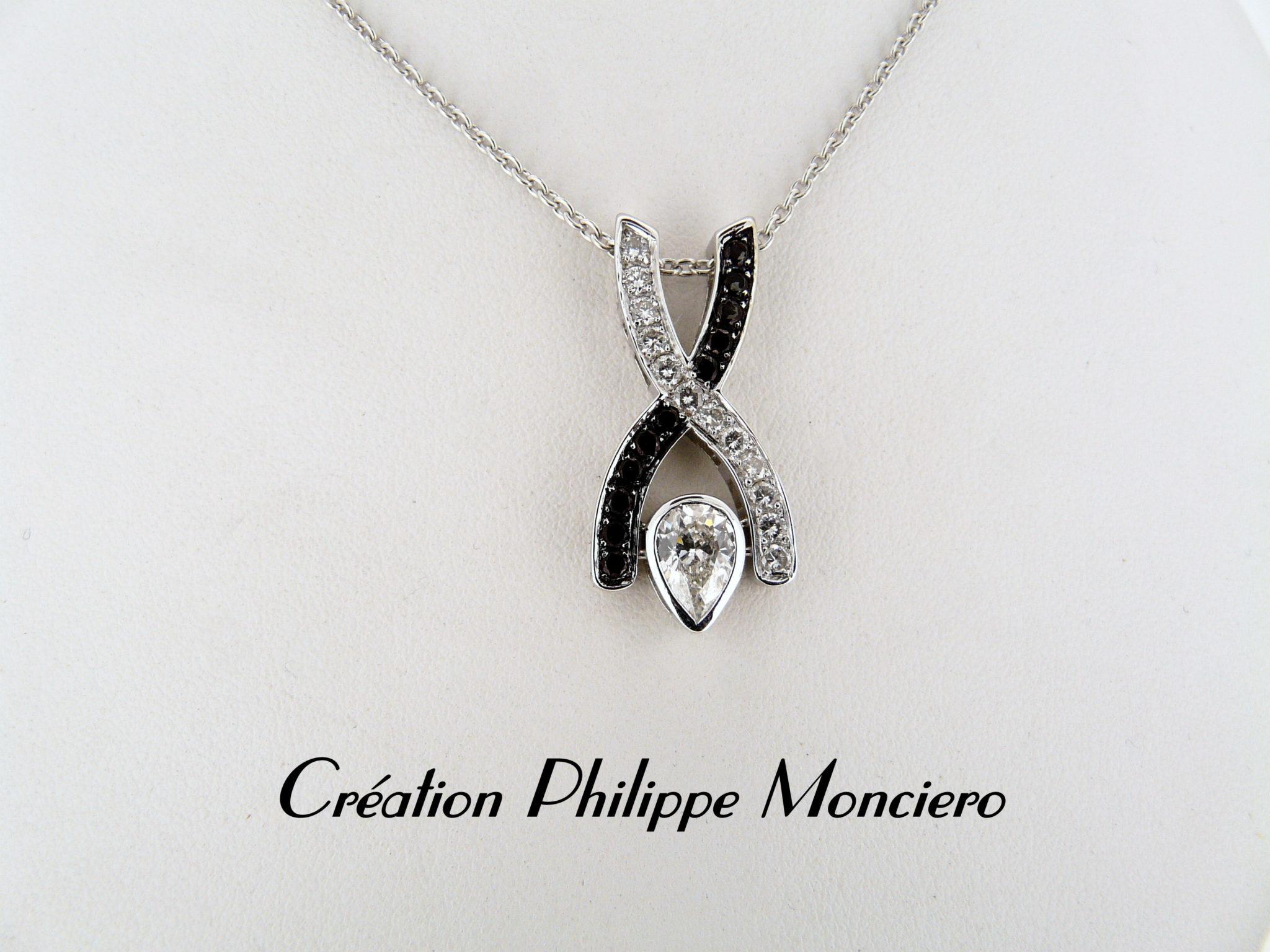 Pendentif croisé diamant poire et diamants blancs et noirs. Monciero - Nîmes