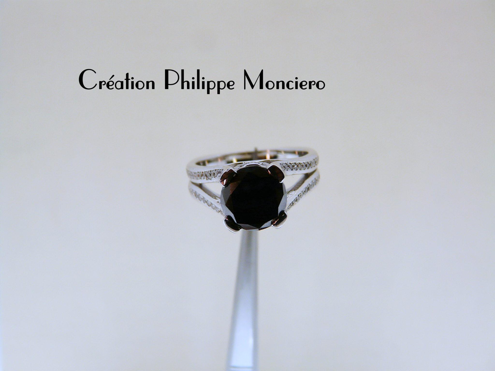 Solitaire diamant noir; Monciero - Nîmes