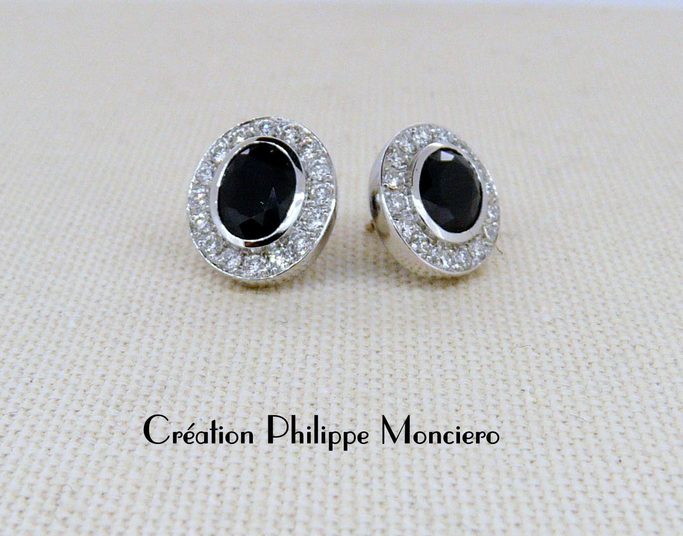 Boucles d'oreilles saphirs et diamants. Monciero-Nîmes
