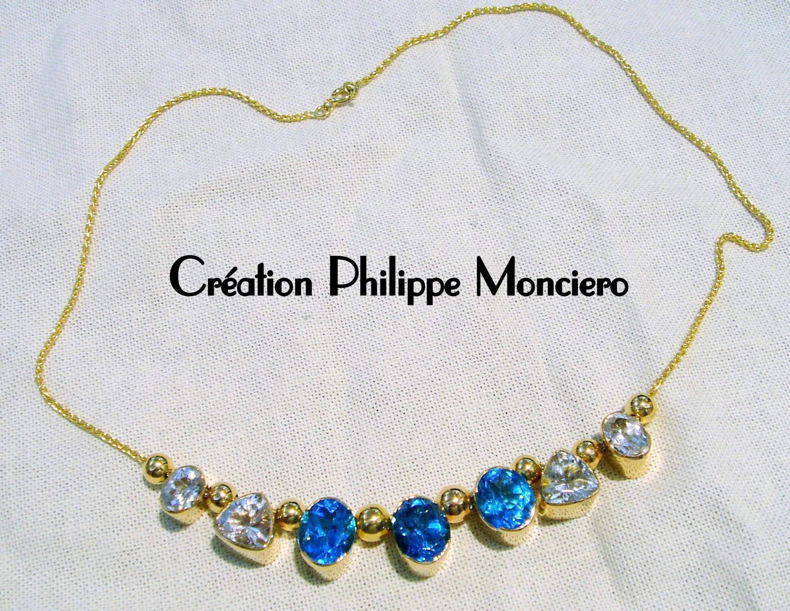 Collier topazes bleues et aigues marines. Monciero - Nîmes